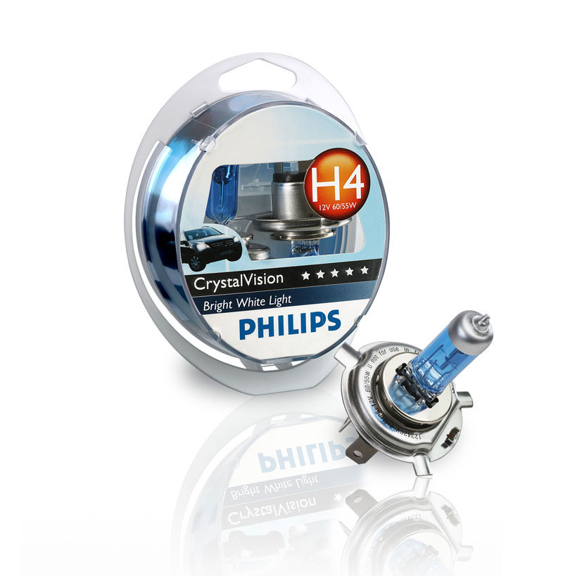 Галогенные автолампы Philips H4 Crystal Vision 4300K (Twin Blister)